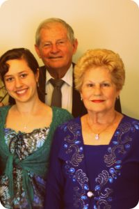 Laura, her grandfather Mr Donald Gough, and grandmother Mrs Adriana Gough