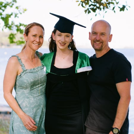 Jessica with her parents